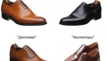 Все виды классической мужской обуви – список с фото