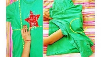 Как сложить футболку, чтобы она не помялась после глажки, в шкафу, в чемодане и на подарок + отзывы
